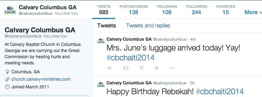 CBC Haiti Mission Trip Tweet 2014